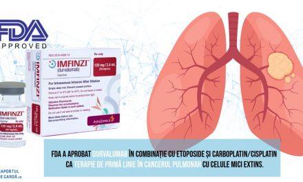 FDA aprobă durvalumab în tratamentul de primă linie al cancerului pulmonar cu celule mici extins