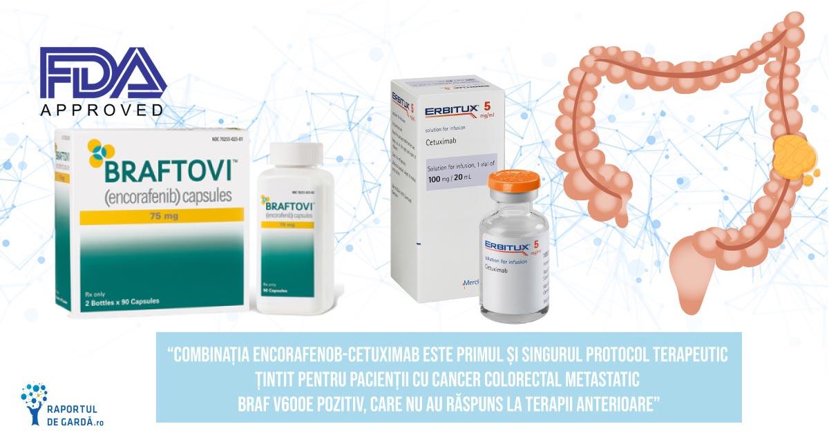 FDA aprobă combinația encorafenib/cetuximab, primul regim țintit, non-chimioterapic, în cancerul colorectal metastatic BRAF V600E pozitiv