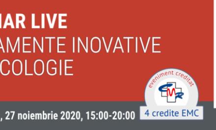 """Webinar Live """"Tratamente inovative în oncologie"""": 27 noiembrie, orele 15.00-17.00"""